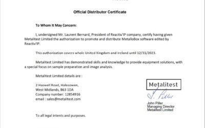 Reactiv'IP et Metalitest signent  un contrat de distribution de longue durée pour MetalloBox  au Royaume Uni et en Irlande